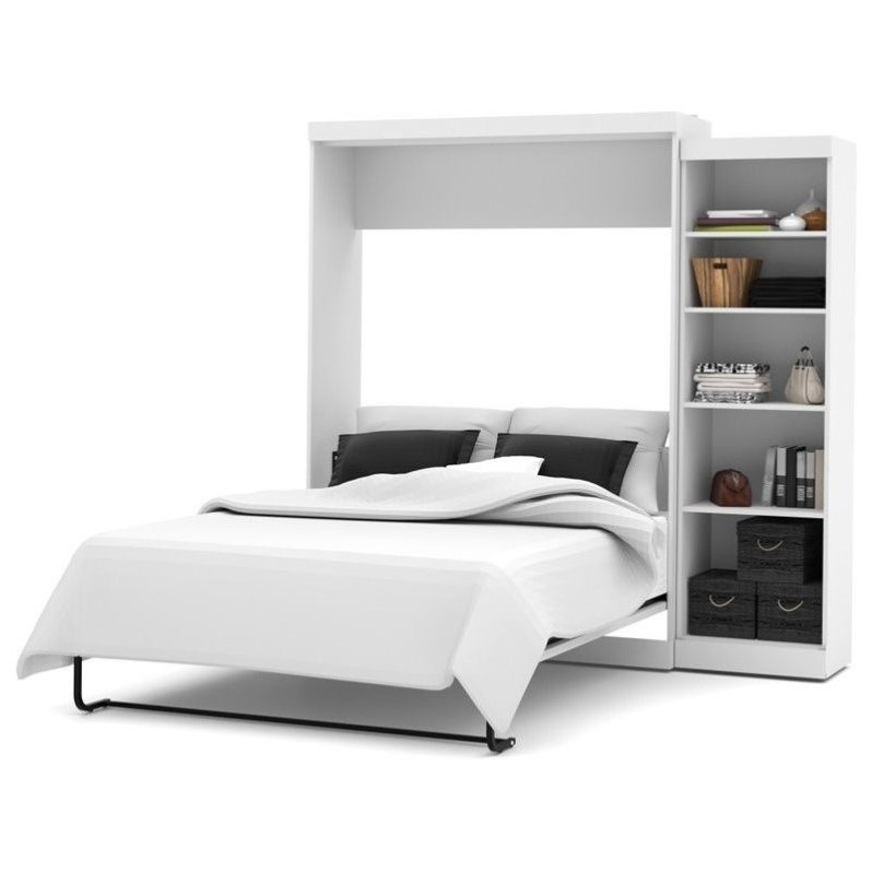 Kingfisher Lane Queen Wall Bed with Storage in White