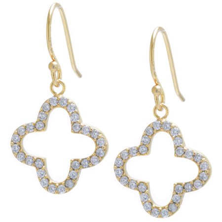 Fine Gold Plate Over Sterling Silver CZ Pave Open Clover Drop Earrings