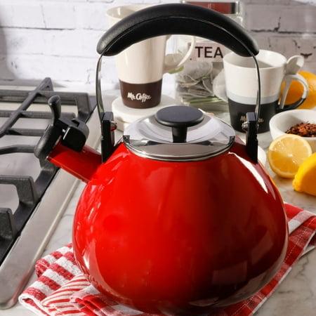 Mr Coffee Marlowe 3-Quart Belly Shape Gradient Red Tea Kettle (Porcelain Tea Kettle Blue)