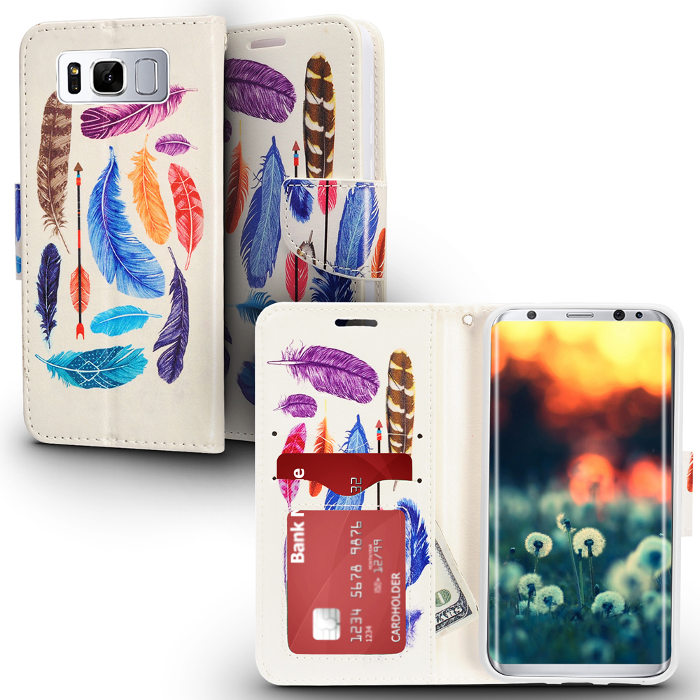 Samsung Galaxy S8 / S8 Plus Case, Zizo Design Flap Pouch Cover- Wallet Case