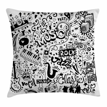 Doodle Throw Pillow Cushion Cover, Music Collection with an Abstract Drawing Rock Jazz Blues Genre Classic Dancing, Decorative Square Accent Pillow Case, 20 X 20 Inches, Black White, by Ambesonne