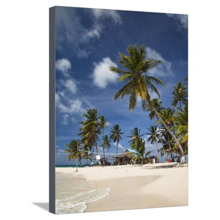 Beach and Palm Trees on Dog Island in the San Blas Islands, Panama, Central America Stretched Canvas Print Wall Art By Donald
