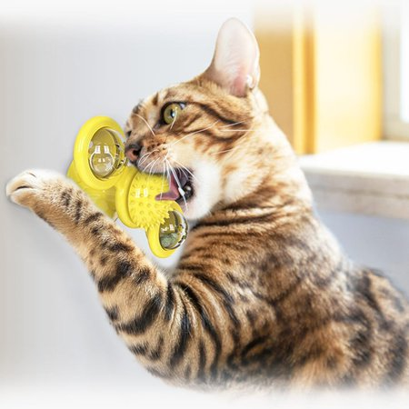 Windmill Cat Toy Turntable Teasing Pet Toy Scratching Tickle Cats Hair Brush Funny Cat Toy Hair Brush Chew Toys - image 2 de 5