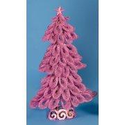 "20"" Lighted Looped Mauve Pink Glitter Christmas Tree Decoration"