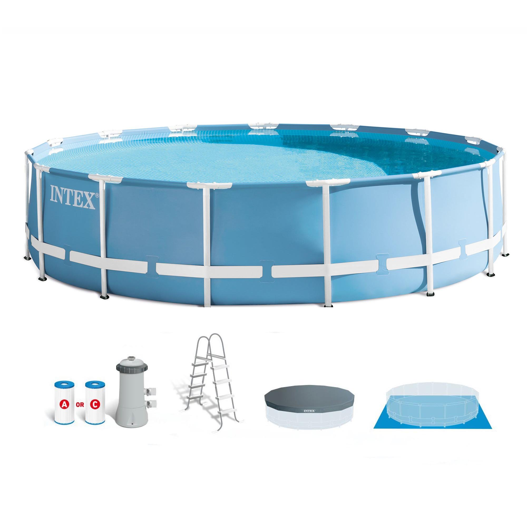 "Intex 15' x 48"" Prism Metal Frame Above Ground Swimming Pool Set & Ladder/Cover"