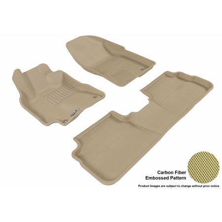 3D MAXpider 2009-2013 Toyota Corolla Front & Second Row Set All Weather Floor Liners in Tan with Carbon Fiber (1989 Toyota Corolla Rubber)