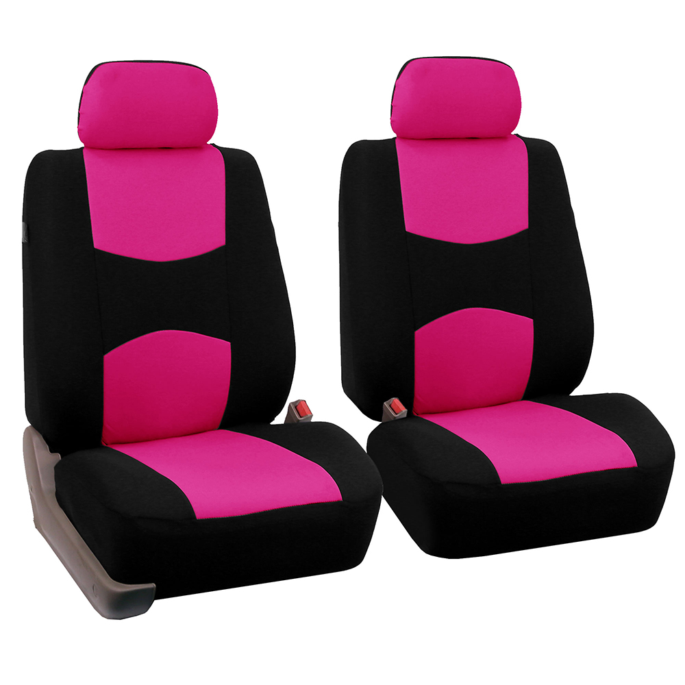 FH Group Universal Flat Cloth Pair Bucket Seat Cover, Pink and Black
