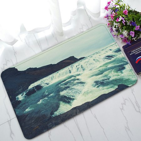 PHFZK Landscape Nature Scenery Doormat, Magnificent River waterfall mountain Lake in Iceland Doormat Outdoors/Indoor Doormat Home Floor Mats Rugs Size 30x18 inches