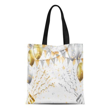 LADDKE Canvas Tote Bag Birthday Gold and Silver Balloons Confetti Flag Party Popper Durable Reusable Shopping Shoulder Grocery Bag](Birthday Poppers)