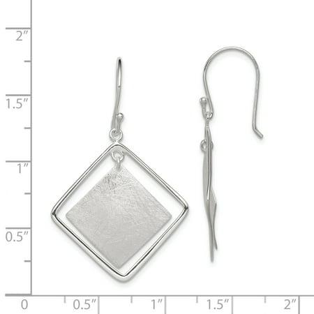 Sterling Silver Polish./Text. Squares Dangle Shepherd Hook Earrings QE12101 - image 1 de 2
