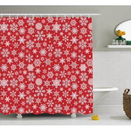 Red Shower Curtain, Various Different Snowflakes with Rich Details Festive Christmas Season in Wintertime, Fabric Bathroom Set with Hooks, 69W X 70L Inches, Red White, by Ambesonne