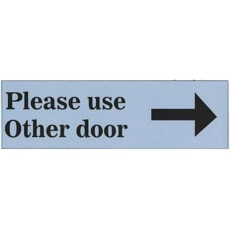 10in x 3in Light Blue Please Use Other Door Sticker Vinyl Business Sign (Please Use Other Door Halloween)