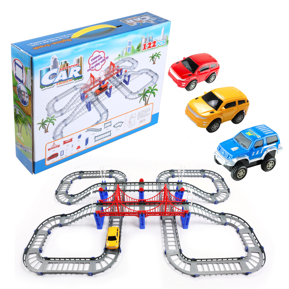 Toy Race Car Track Playset Train Track with 3 Battery ...