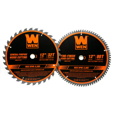 WEN 12-Inch 32-Tooth and 80-Tooth Carbide-Tipped Professional Woodworking Saw Blade Set, Two Pack,