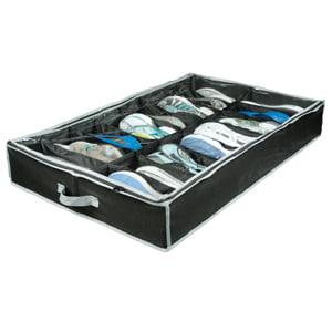 Richards Homewares  Gearbox Black Grey Vinyl Storage Caddy 16-pocket Underbed Chest