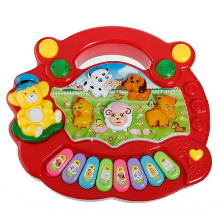 Baby Kids Discover and Play Piano ,Musical Educational Piano Animal Farm Pattern Developmental Music Toy Children for Birthday Gift