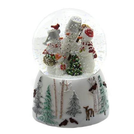 Christmas SNOWMAN FAMILY GLITTERDOME Glass Musical Waterball 132021 ()