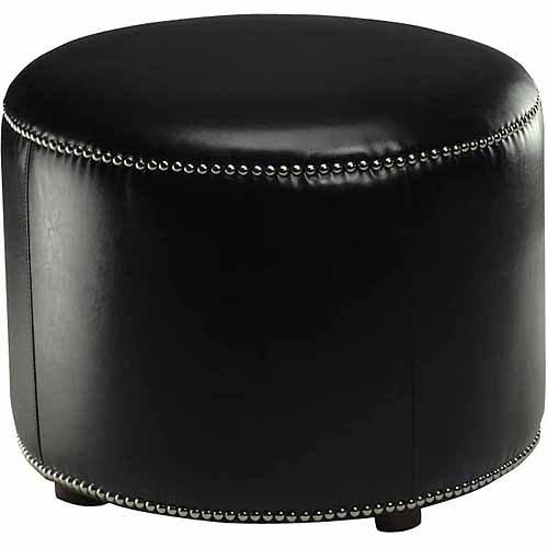 Safavieh Hogan Beechwood Bicast Leather Upholstered Ottoman, Multiple Colors