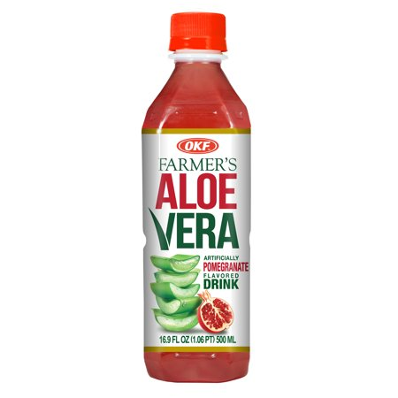 OKF Farmer's Aloe Vera Drink, Pomegranate, 16.9 Fluid Ounce (Pack of