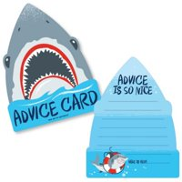 Shark Zone - Wish Card Jawsome Shark Baby Shower Activities - Shaped Advice Cards Game - Set of 20