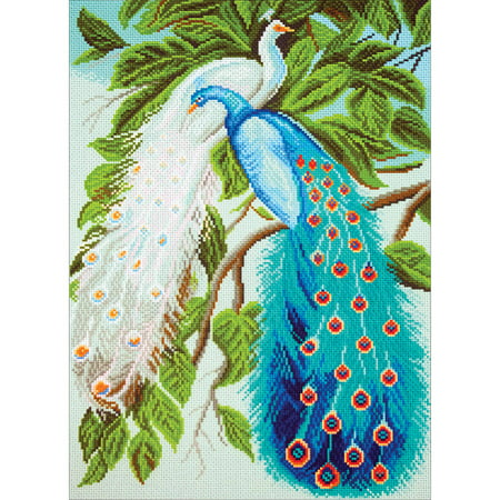 Collection D'Art Stamped Cross Stitch Kit, 37cm x 49cm, Peacocks - Just Cross Stitch Halloween Collection 2017