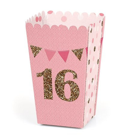 Sweet 16 - 16th Birthday Party Favor Popcorn Treat Boxes - Set of 12