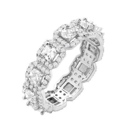 Chic Jewels RG2020-7 Cubic Zirconia Square Cut Eternity Wedding Band - Size 7 - image 1 de 1