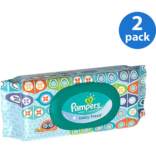 Pampers Baby Fresh Wipes Travel Pack 64 Count (Pack of 2)