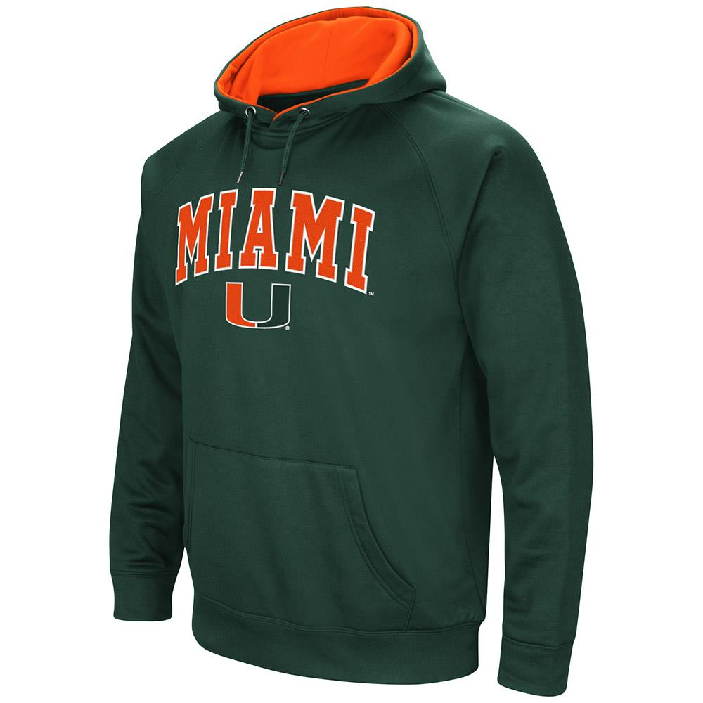Mens Miami Hurricanes Fleece Pull-over Hoodie by Colosseum