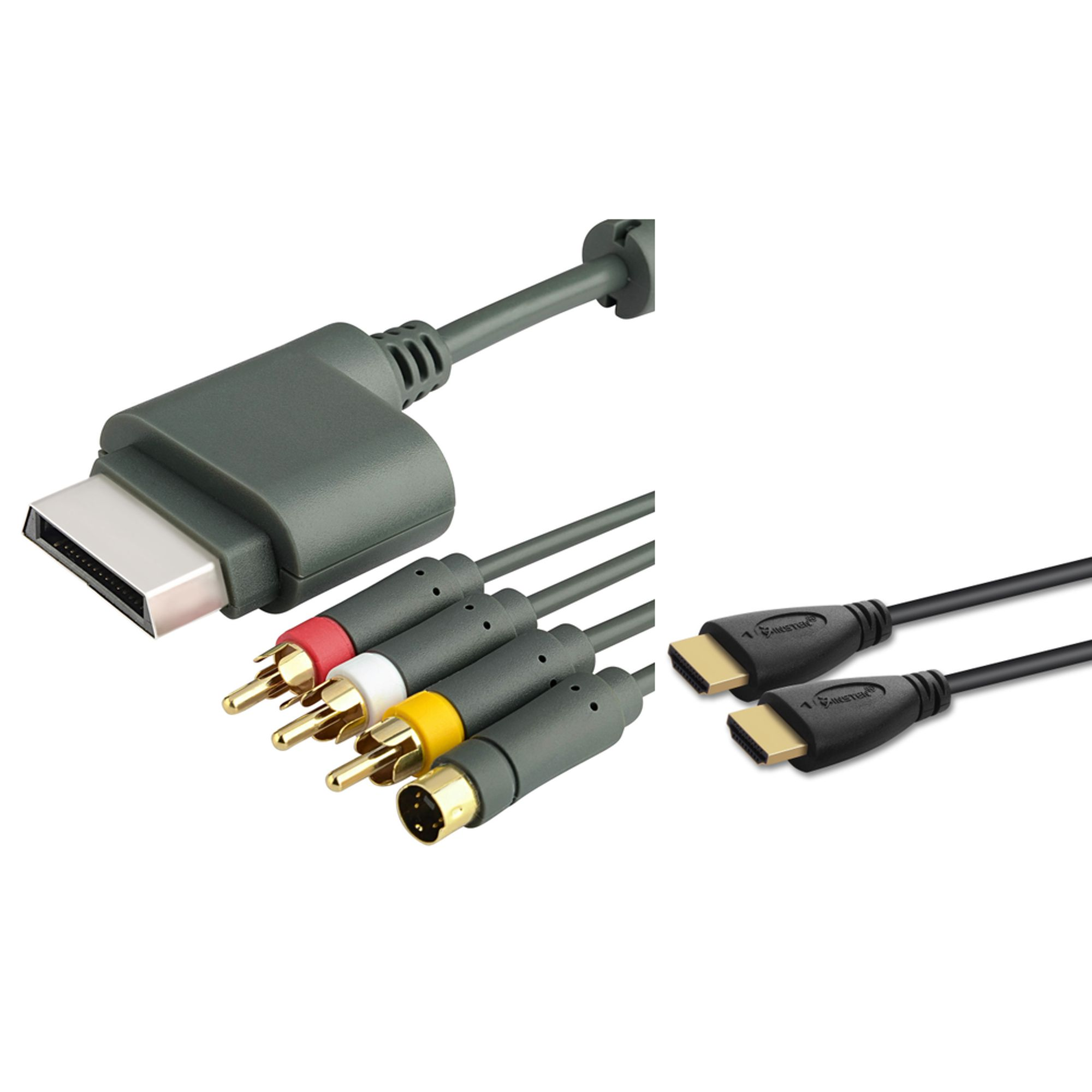 Insten S-Video Composite 3 RCA Adapter Cable Cord+10ft 10' Hdmi Cable for Xbox 360 HDTV