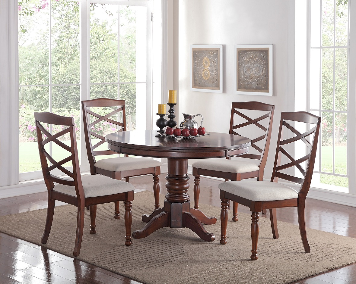 Cherry Wood Finish Modern Casual Dining Room Round Pedestal base Dining Table Cushion Chairs 5pc Dining Room Set Kitchen... by Poundex