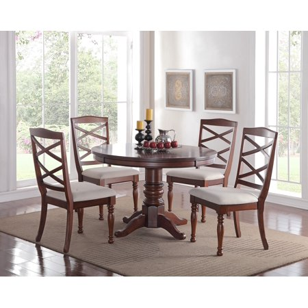 Cherry Wood Finish Modern Casual Dining Room Round Pedestal base Dining Table Cushion Chairs 5pc Dining Set Kitchen Breakfast Cherry Dining Room Pedestal