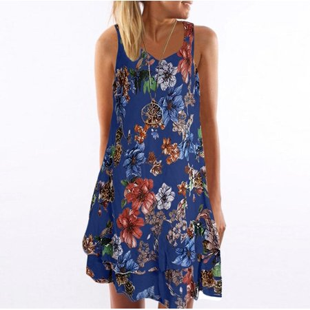 Women Deep V Neck Tops Casual Sleeveless Floral Print T-shirt Loose Pullover Dress