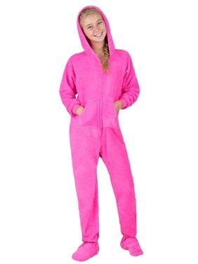 Footed Pajamas - Perfect Pink Kids Hoodie Chenille Onesie