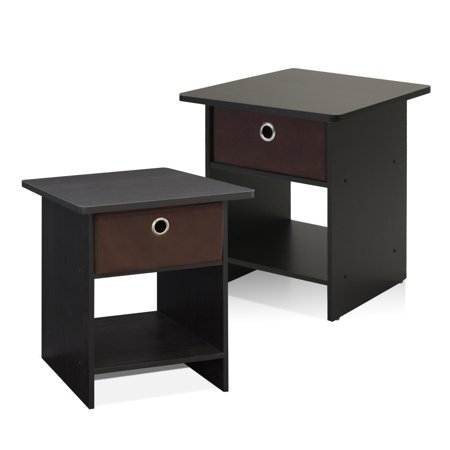Furinno End Table/ Night Stand Storage Shelf with Bin Drawer, Espresso, Set of - Storage Espresso End Tables