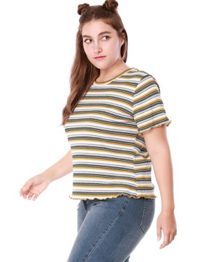 2211d690d2 Product Image Unique Bargains Women s Plus Size Ruffled Striped T-shirt