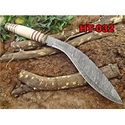 "15"" custom made Hand Forged Damascus Steel Kukri Knife With 10"" blade, camel bone with engraved brass finger guard scale, Leather Sheath"