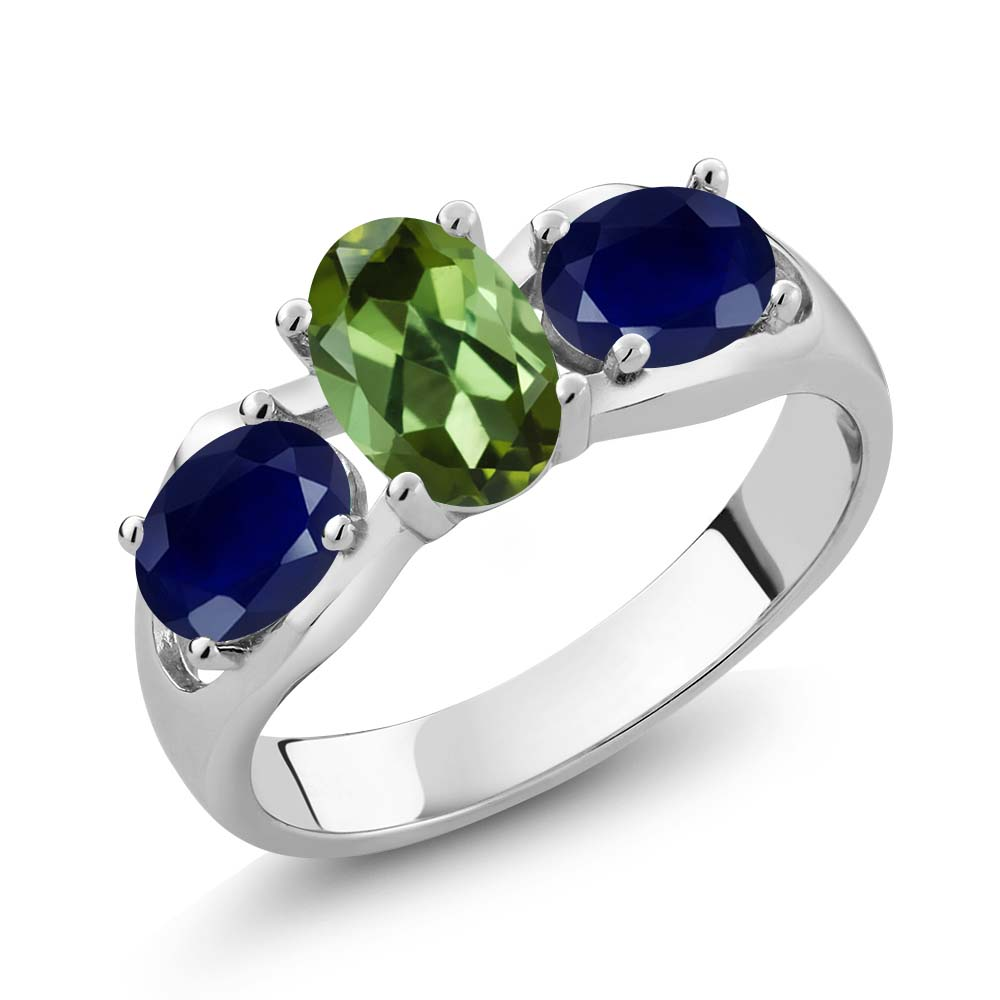 1.80 Ct Oval Green Tourmaline Blue Sapphire 14K White Gold Ring by