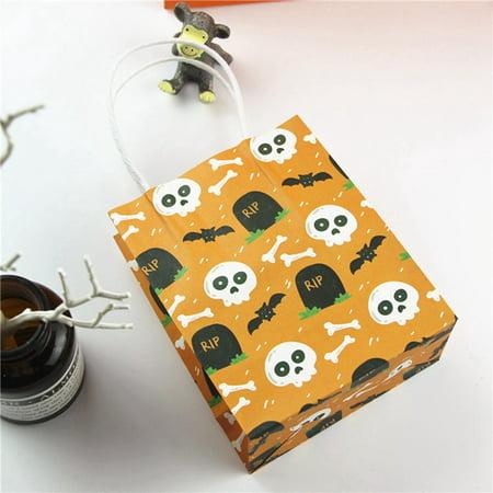 AkoaDa Halloween Pumpkin Skull Paper Bag Kids Candy Bag Children Party Supplies Halloween Decor Accessories
