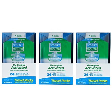 - SmartMouth Mouthwash Travel Packets for 24 Hours of Fresh Breath Guaranteed, 3 Boxes, 10 packs each