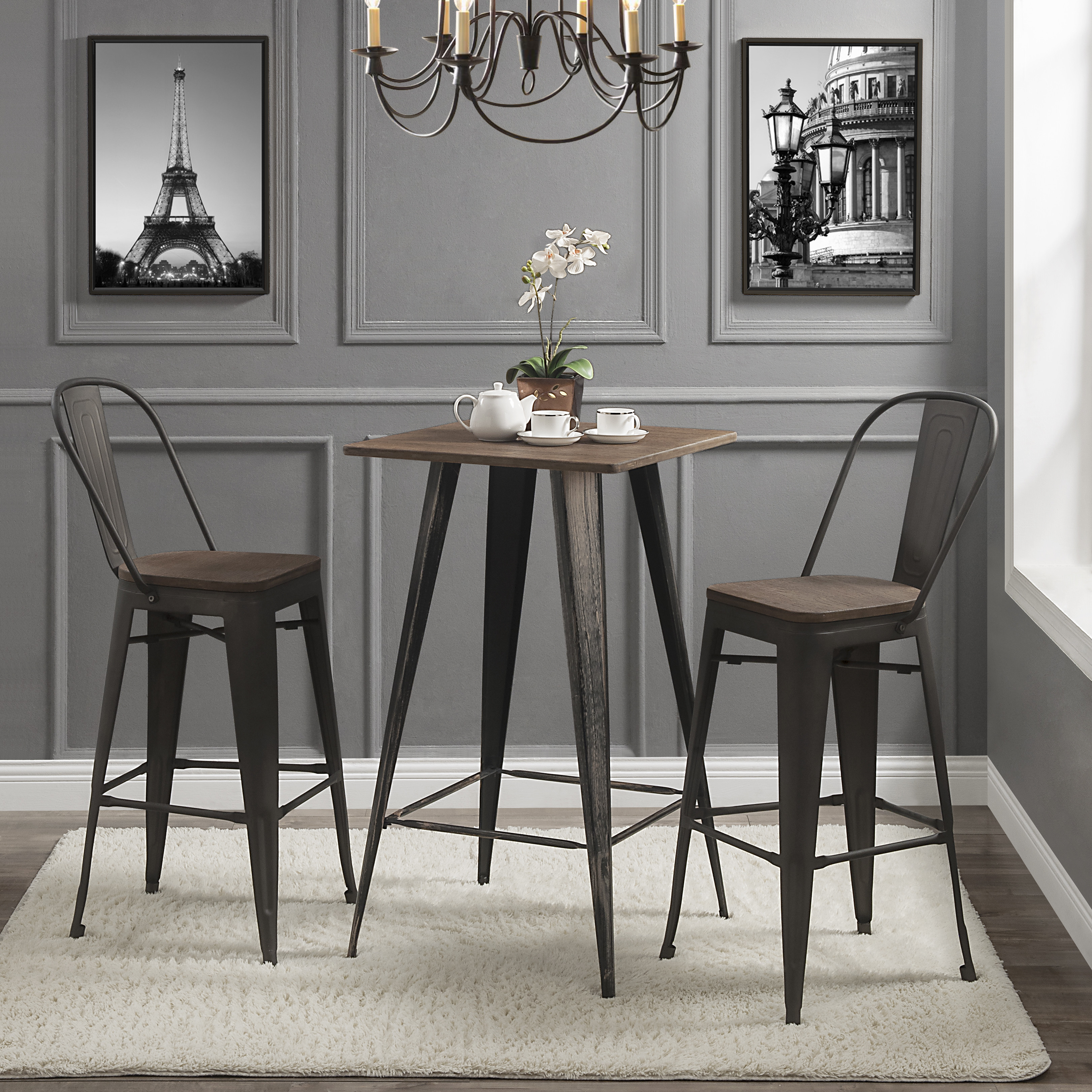 Small 3 Piece Dining Set, Industrial Wooden Bar Table And Chairs Dining Set, Kitchen Counter Height Dining Table Set With 2 Bar Stools, Square Pub Dining Set For Dining Room Living Room,