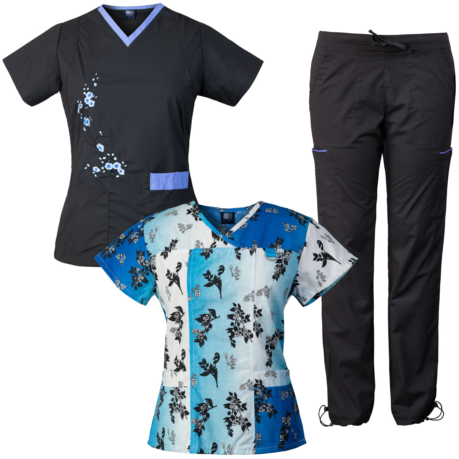 Medgear 3-Piece Stretch Scrubs Set with Embroidery and Printed Top Combo CHBB