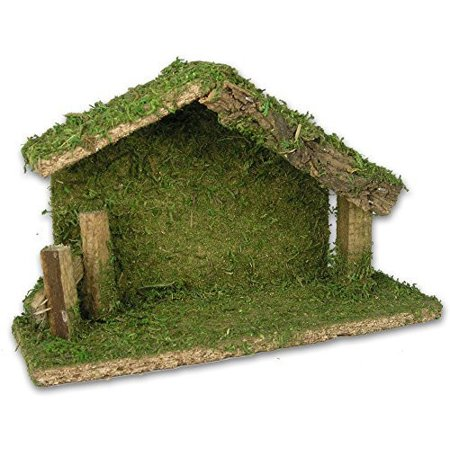 Nativity Stable Creche Christmas Decoration Wood and Moss 5 Inch High for $<!---->