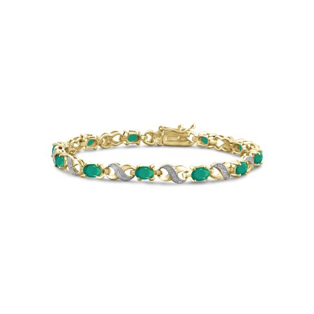 4 1/5 Carat T.G.W. Emerald And White Diamond Accent 14k Gold Over Silver Bracelet