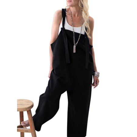 Women Loose Cotton Linen Jumpsuit Dungarees Playsuit Straps Overalls Trousers Ladies Sleeveless Baggy Pockets Long - Satin Playsuit