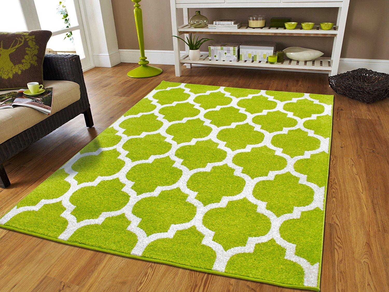 Apple Green Rug Modern Cubic Style Carpet Living Room Bedroom Large Green Rugs