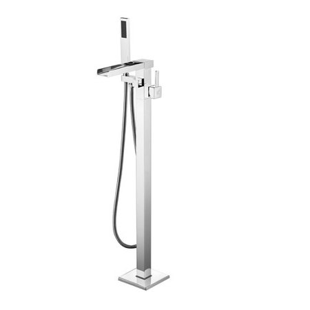Dyconn Faucet Victoria Double Handle Floor Mounted Freestanding Tub Filler with Hand - Floor Mounted Bath Faucet
