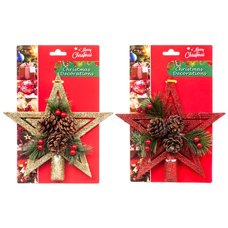 New 363510  Hx Tree Top Star W / Glitter  Pine (24-Pack) Christmas Cheap Wholesale Discount Bulk Seasonal Christmas Socks - Cheap Christmas