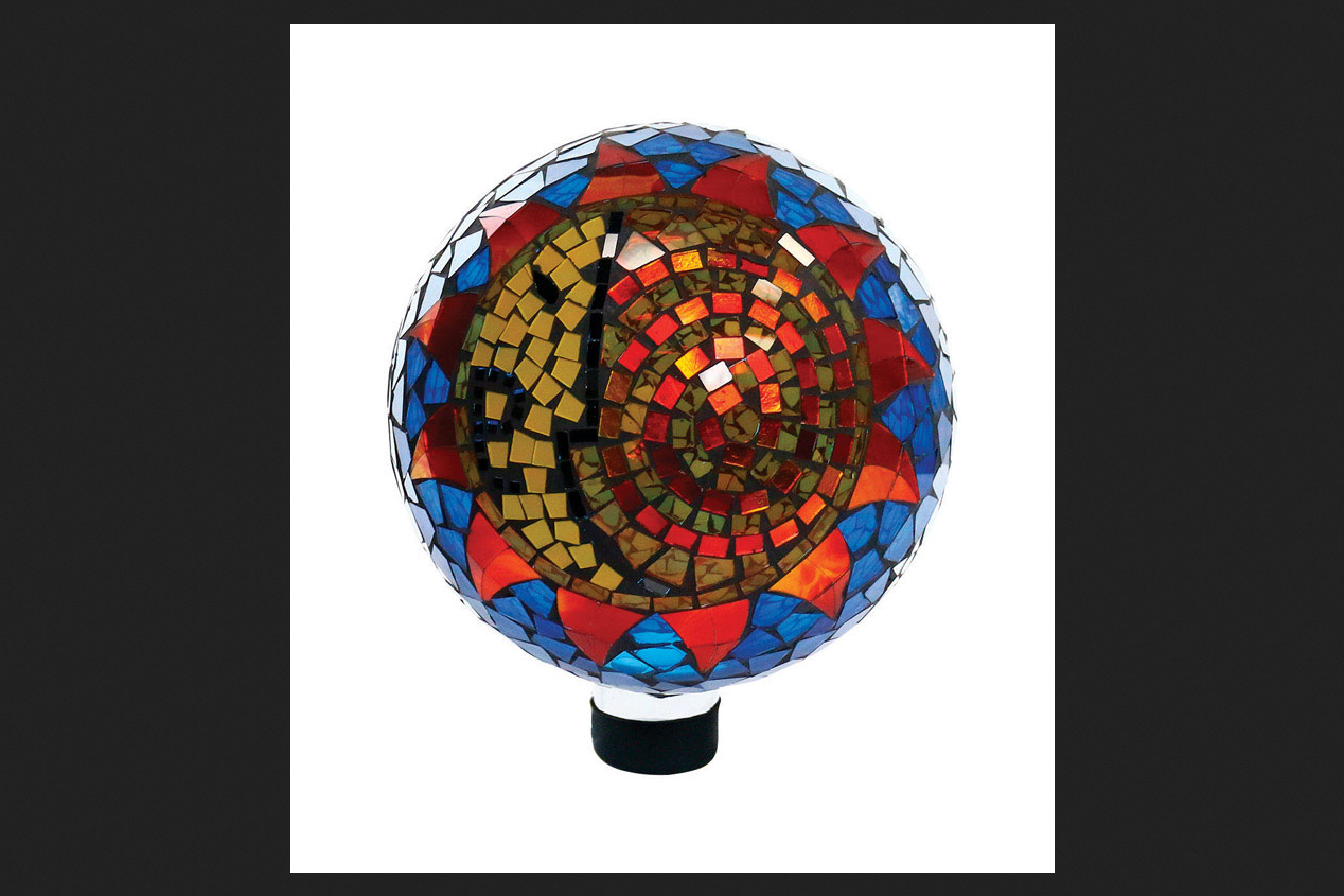 Alpine Glass Multicolored 11 in. H Mosaic Sun & Moon Gazing Ball by Alpine