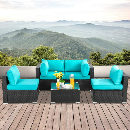 Walsunny 5pcs Patio Outdoor Furniture, All Weather Outdoor Furniture